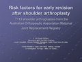 Risk factors for early revision after shoulder arthroplasty:  7113 shoulder arthroplasties from the Australian Orthopaedic Association National Joint Replacement Registry