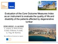 Evaluation of the Core Outcome Measures Index as an instrument to evaluate the quality of life and disability of the patients affected by degenerative lumbar