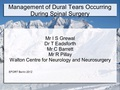 Management of Dural Tears cccurring during spinal surgery