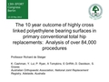 The 10 year outcome of highly cross linked polyethylene bearing surfaces in primary conventional total hip replacements:  Analysis of over 84,000 procedures