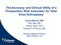 Validity and clinical utility of a risk calculator for total knee arthroplasty