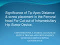 Significance of Tip Apex Distance & screw placement in the femoral head for cut-out of intramedullary hip screw device