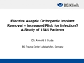 Elective Aseptic Orthopaedic Implant Removal - Increased Risk For Complications? A Study Of 1545 Patients