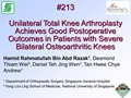 Unilateral Total Knee Arthroplasty Achieves Good Post-Operative Outcomes In Patients With Severe Bilateral Osteoarthritic Knees
