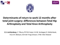 Determinants Of Returning To Work 12 Months After Total Joint Surgery: Differences Between Total Hip Arthroplasty And Total Knee Arthroplasty