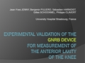 Experimental Validation Of The GNRB Device For Measurement Of The Anterior Translation Of The Knee