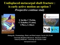 Undisplaced Metacarpal Shaft Fracture: Is Early Active Motion An Option ? Prospective Continue Study