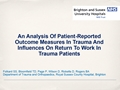 Factors Affecting Planned Return To Work After Trauma: A Prospective Study
