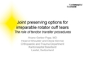 Upper Limb Joint Preserving Options For Irreparable Rotator Cuff Tears