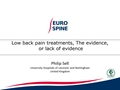 Low Back Pain Treatments, The Evidence, Or Lack Of