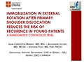 Immobilization In External Rotation After Primary Shoulder Dislocation Reduces The Risk Of Recurrence In Young Patients. A Randomized Controlled Trial