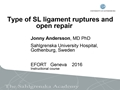 Type Of SL Ligament Ruptures And Open Repair